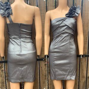 One Shoulder Silver Cocktail Dress - Size 5